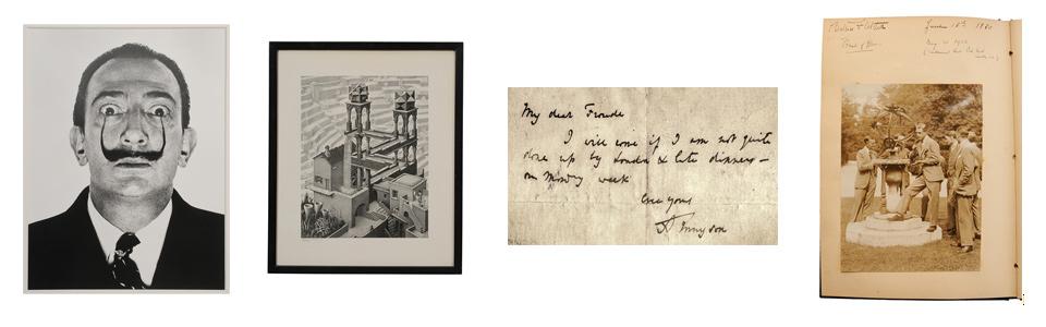 Halsman portfolio, M. C. Escher print, Tennyson letter, Edward III photograph