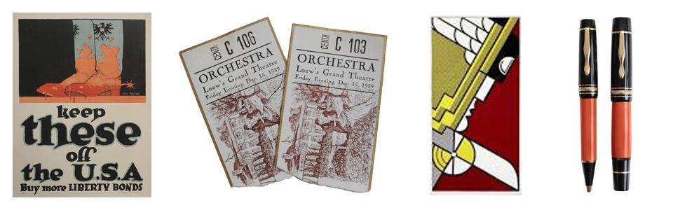 World War I poster, GWTW memorabilia, Lichtenstein print, Montblanc pen set