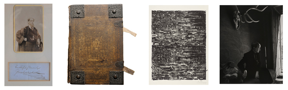 Charles Dickens' carte de visite and signature, 1720 German Luther Bible, Jasper Johns Flag print, Karsh- O'Keeffe photo