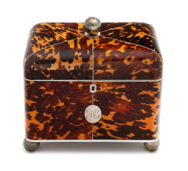 English Tortoise Shell Tea Caddy